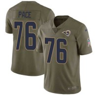 Nike Rams -76 Orlando Pace Olive Stitched NFL Limited 2017 Salute to Service Jersey