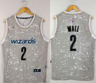 Washington Wizards -2 John Wall Grey City Light Stitched NBA Jersey