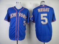 New York Mets -5 David Wright Blue Grey NO Alternate Road Cool Base Stitched MLB Jersey