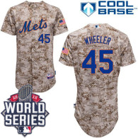 New York Mets -45 Zack Wheeler Alternate Camo Cool Base W 2015 World Series Patch Stitched MLB Jerse