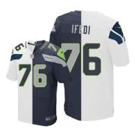 Nike Seahawks -76 Germain Ifedi White Steel Blue Stitched NFL Elite Split Jersey