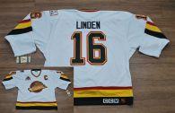 Vancouver Canucks -16 Trevor Linden Stitched White CCM Throwback Vintage NHL Jersey