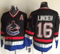 Vancouver Canucks -16 Trevor Linden Black Blue CCM Throwback Stitched NHL Jersey