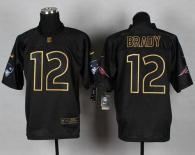 Nike New England Patriots -12 Tom Brady Black Gold No Fashion Mens Stitched NFL Elite Jersey