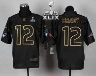 Nike New England Patriots -12 Tom Brady Black Gold No Fashion Super Bowl XLIX Mens Stitched NFL Elit