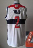 Revolution 30 Autographed Washington Wizards -2 John Wall White Stitched NBA Jersey