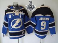 Tampa Bay Lightning -9 Tyler Johnson Blue Sawyer Hooded Sweatshirt 2015 Stanley Cup Stitched NHL Jer