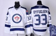 Autographed Winnipeg Jets -33 Dustin Byfuglien Stitched White 2011 Style NHL Jersey
