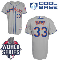 New York Mets -33 Matt Harvey Grey Road Cool Base W 2015 World Series Patch Stitched MLB Jersey