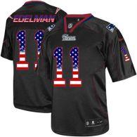Nike New England Patriots -11 Julian Edelman Black Mens Stitched NFL Elite USA Flag Fashion Jersey