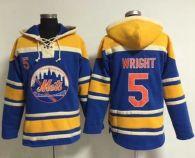 New York Mets -5 David Wright Blue Sawyer Hooded Sweatshirt MLB Hoodie
