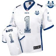 Nike Indianapolis Colts #1 Pat McAfee White With 30TH Seasons Patch Men's Stitched NFL Elite Drift F