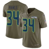Nike Seahawks -34 Thomas Rawls Olive Stitched NFL Limited 2017 Salute to Service Jersey