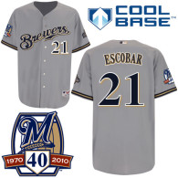 Milwaukee Brewers -21 Alcides Escobar Stitched Grey Cool Base MLB Jersey