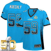 Nike Carolina Panthers #59 Luke Kuechly Blue Alternate Super Bowl 50 Womens Stitched NFL Elite Drift