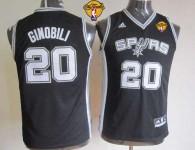San Antonio Spurs #20 Manu Ginobili Black With Finals Patch Youth Stitched NBA Jersey