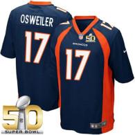 Nike Denver Broncos #17 Brock Osweiler Blue Alternate Super Bowl 50 Youth Stitched NFL New Elite Jer