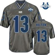 Nike Indianapolis Colts #13 TY Hilton Grey With 30TH Seasons Patch Men's Stitched NFL Elite Vapor Je