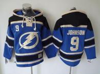 Tampa Bay Lightning -9 Tyler Johnson Blue Sawyer Hooded Sweatshirt Stitched NHL Jersey