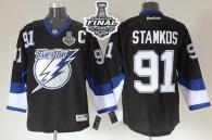 Tampa Bay Lightning -91 Steven Stamkos Black 2015 Stanley Cup Stitched NHL Jersey