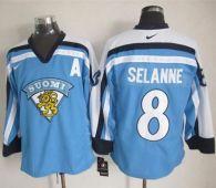Winnipeg Jets -8 Teemu Selanne Light Blue Nike Throwback Stitched NHL Jersey
