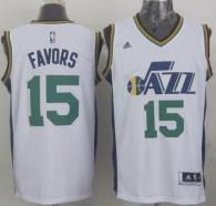 Revolution 30 Utah Jazz -15 Derrick Favors White Stitched NBA Jersey