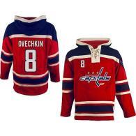 Washington Capitals -8 Alex Ovechkin Red Sawyer Hooded Sweatshirt Stitched NHL Jersey