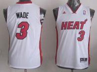 Miami Heat #3 Dwyane Wade White Stitched Youth NBA Jersey