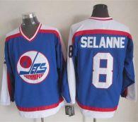 Winnipeg Jets -8 Teemu Selanne Blue White CCM Throwback Stitched NHL Jersey