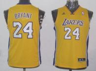 Los Angeles Lakers #24 Kobe Bryant Yellow Champion Patch Stitched Youth NBA Jersey