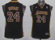 Los Angeles Lakers #24 Kobe Bryant Black Champion Patch Stitched Youth NBA Jersey
