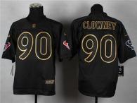 Nike Houston Texans #90 Jadeveon Clowney Black Gold No Fashion Men's Stitched NFL Elite Jersey