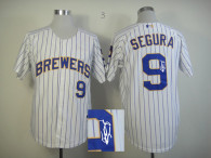 Autographed MLB Milwaukee Brewers -9 Jean Segura White Blue Stripe  Cool Base Stitched Jersey