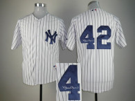 Autographed MLB New York Yankees -42 Mariano Rivera White Stitched Jersey