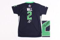 Autographed 2014 NBA All Star Washington Wizards -2 John Wall Swingman Navy Blue Jersey
