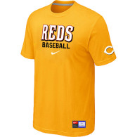Cincinnati Reds Yellow Nike Short Sleeve Practice T-Shirt