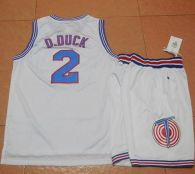 Space Jam Tune Squad -2 Daffy Duck White Stitched Basketball Jersey