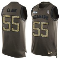 Nike Seahawks -55 Frank Clark Green Stitched NFL Limited Salute To Service Tank Top Jersey