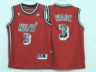 Miami Heat #3 Dwyane Wade Red Hardwood Classics Nights Stitched Youth NBA Jersey