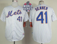 New York Mets -41 Tom Seaver White Blue Strip  Home Cool Base W 2015 World Series Patch Stitched MLB