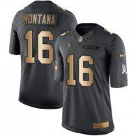 Nike 49ers -16 Joe Montana Black Stitched NFL Limited Gold Salute To Service Jersey