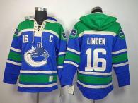 Vancouver Canucks -16 Trevor Linden Blue Sawyer Hooded Sweatshirt Stitched NHL Jersey