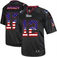 Nike New England Patriots -12 Tom Brady Black Mens Stitched NFL Elite USA Flag Fashion Jersey