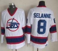 Winnipeg Jets -8 Teemu Selanne White CCM Throwback Stitched NHL Jersey