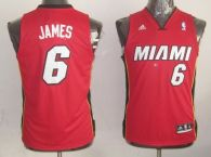 Miami Heat #6 LeBron James Red Stitched Youth NBA Jersey