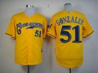 Milwaukee Brewers -51 Michael Gonzalez Yellow Cerveceros Cool Base Stitched MLB Jersey
