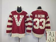 Autographed Vancouver Canucks -33 Henrik Sedin Red Stitched NHL Jersey