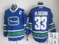 Autographed Vancouver Canucks -33 Henrik Sedin Stitched Blue Third NHL Jersey