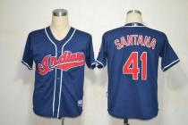 Mitchell And Ness Cleveland Indians -41 Carlos Santana Blue Stitched Throwback MLB Jersey
