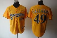 Milwaukee Brewers -49 Yovani Gallardo Yellow Cerveceros Cool Base Stitched MLB Jersey